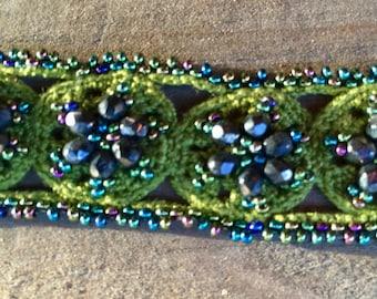 Vintage Hand Crocheted and Beaded Bracelet