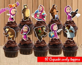Masha and the bear| Masha and the bear party saplies| Masha and the bear birthday| printable cupcake toppers, INSTANT DOWNLOAD