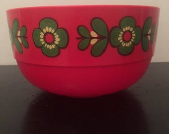 EMSA West Germany Vintage red plastic bowl with flower design