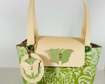 Paper Purse  - Gift Bag with Coordinating  Gift Tag - Paper Purse Gift Bag