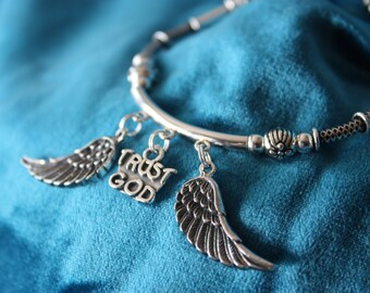 Sterling Silver Bracelet with Trust God and Angel Wing Charms - 25% discount off of THREE (see description)