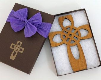 Four Apostles Cross - Celtic Knot Wood Large Cross Ornament Gift Box Set
