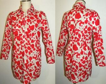 1970s 70s Hippie Tunic / LONG Blouse Daisy Print Cotton / Bohemian Festival Boho / Vintage / Fits XS
