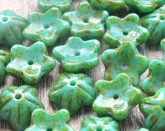 Czech Glass Bell Flowers Turquoise,  Czech Glass Flower Beads, Czech Beads, Turquoise Flower Beads, Czech Glass Beads, Flower Beads