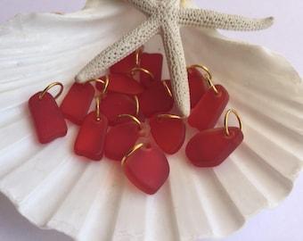 Beautiful Red Sea glass bead charm,beach glass charm ,sea glass bracelet ,sea glass jewelry ,beach glass bracelet ,add a charm ,sea glass