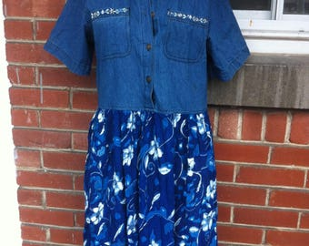 maxi dress denim and floral Small