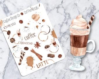 Coffee Break Deco / Watercolor / Tracking / Planner Stickers /  Fits Erin Condren & MAMBI / Kikki K / FiloFax / Scrapbook