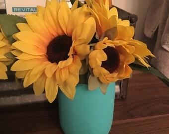 Mason Jar Vase with Sunflowers