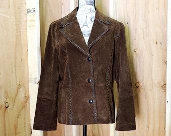 Wilsons leather jacket  M / L / 90s western brown suede jacket /  Wilsons Leather coat