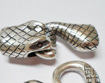 Snake Head Clasp, Antique Silver for Licorice Leather