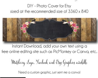DIY Etsy Cover Photo - Add your own Text, Instant Download, The Aimee Lynne, New Cover Photo For Etsy, Made to Match Graphics
