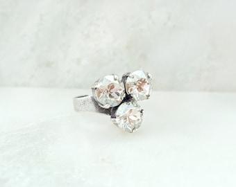 Silver Rhinestone Ring - Swarovski Crystal Ring - Antique Silver Ring - Clear Crystal Ring - Rhinestone Ring Adjustable - Diamond Ring R2031