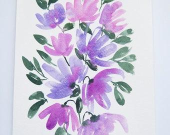 "Purple Flowers Original Watercolor Painting 8.5""x11"""