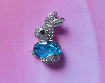 1 small rabbit blue stone and rhinestone pendant