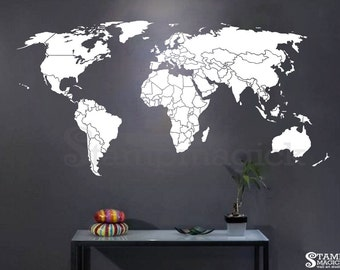 World map wall decal countries border wall art sticker world map countries wall decal world map decal wall art mural country borders gumiabroncs Images