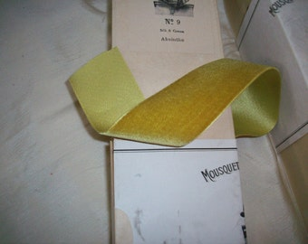 "1 yd. RARE Very old Silk Velvet Ribbon French Old Store Stock in ""Absinthe"""