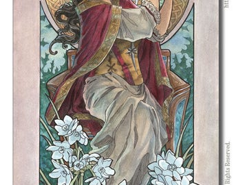 Art Print Lady of December with Saint Lucia Candle Crown Goddess White Narcissus Birthstone Series Art Nouveau Painting