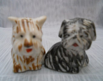 Minature Dog Salt and Pepper Shakers - vintage, collectible, Japan, dogs, animals