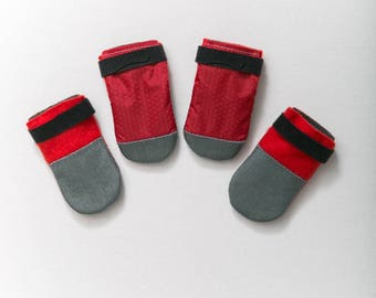 Large Kawaii Dog Bootie Socks Red - Ripstop + Fleece