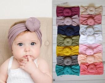 Nylon Headwraps, Round Knot head wrap, stretch nylon headbands, wide nylon headbands, baby headbands, shower gift, Nylon Turban- ROUND KNOT