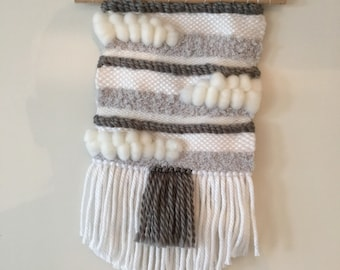 Wall weaving wool gray and white