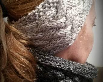 Headband and  Cowl - Snood - infinity scarf - Womens cowl - Knit cowl  - Knit snood - Knit scarf - Circle scarf - Neck warmer - Ear warmer