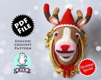 Christmas Special CROCHET PATTERN, DIY, Color Block Deer Head, Crochet Taxidermy, Amigurumi Crochet Pattern by Manafka Mina