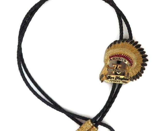 Vintage Black Bolo Tie - AAHMES 75 Years Potentate Bolo, Indian Headdress Pendant, Black Leather Tie, Unique Collector's Tie
