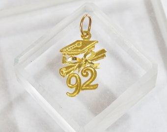 Vintage 14K Solid Yellow Gold '92 Graduation Cap Diploma Charm for Bracelet