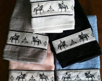 Dressage Horse Hand Towel - Choice of Color - Black, Blue, Gray, White, etc.