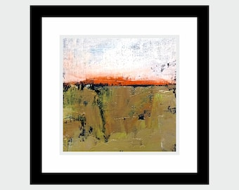 small oil painting abstract landscape + artistic textile! 10x10 cm series 2018 on canvas in frame / obraz olejny pejzaż abstrakcyjny w ramie