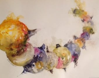 Original watercolour abstract depiction of planets