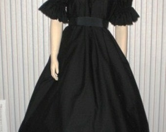 "Summer sale everything's on sale.Large 54"" bust SHORT Sleeve BLACK MOURNING CIivil War Dress With Sash"
