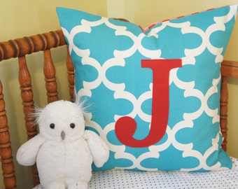 custom monogrammed pillow cover, 20x20, turquoise trellis with red, any letter/colour available