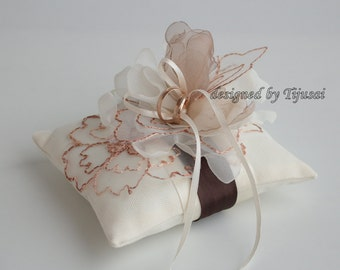 Wedding rings pillow, rings pillow, rings bearer, rings cushion, rings holder-ivory and beige