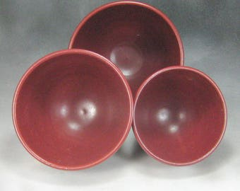 Bowl Rust Red Nesting Bowl Set Ceramic Serving Bowl Hand Thrown Stoneware Pottery Bowl Set 10
