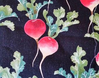 Red radishes, red radishes on black, radishes quilting fabric, red radish fabric