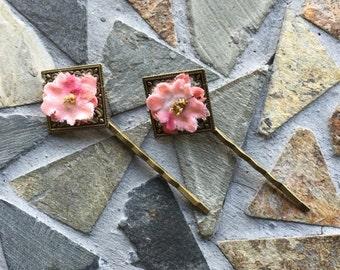 Floral Filigree Antiqued Brass Bobby Pin Set (Original Price 3.50)