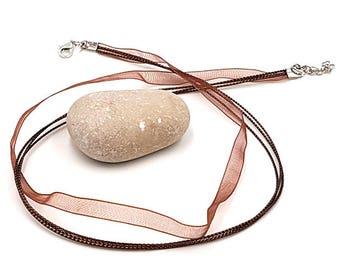 10 44cm Brown organza necklaces