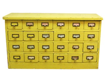 HOLD for SHANNONKELLESTINE: Vintage Yellow Library Card Catalog -- Mid-Century Library Furniture