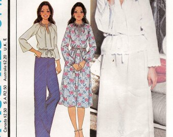 A Raglan Sleeve, Gathered Neckline Top & Dress and Elastic Waist A-Line Skirt Pattern for Women: Unused - Size XS / 6-8 • McCall's 6142