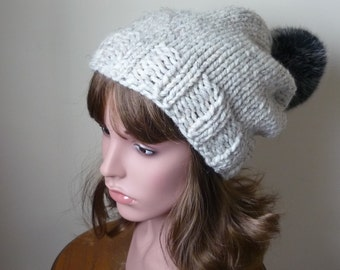 Knit Slouch Hat Faux Fur Pompom Warm Wool Blend Winter Hat in Wheat with Black Cat Pompom - Ready to Ship - Gift for Her