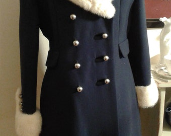 Vintage Blue Princess Coat with white Fur Collar and cuffs by Benmoor of New York