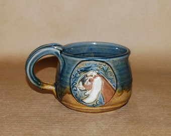 Handmsde Stoneware Soup Mug with Nubian Medallion