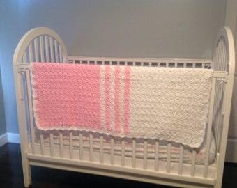 Pink Stripes Baby Afghan