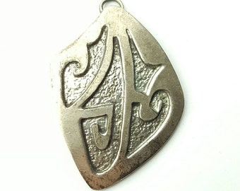 Vintage Sterling Silver Native American Hammer Texture Stamped Abstract Glyph Pendant