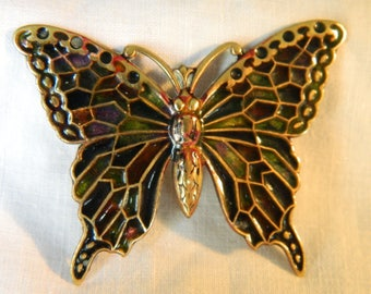 Vintage 1920s-30s Art Deco Enamelled Copper Butterfly Brooch (Autumnal Purples & Olive Greens).