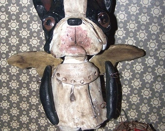 Folk Art Whimsical Boston Terrier Dog Angel Doll Sculpt Vintage Primitive Style