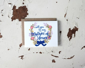 Will You Be My Matron of Honor Card - Floral Wreath