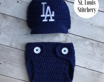Baby Boy Navy Los Angeles Dodgers  Inspired Hat & Diaper Cover Set / Newborn Photo Prop / Sizes Newborn - 9 Months **MADE TO ORDER**
